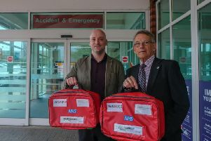 Red Bag project manager Jon Crowley with Cllr Les Caborn. Photo submitted.