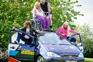 Southam man Dan Crofts and three friends have today set off on a trip Benidorm in a Banger' for charity. They've gone in fancy dress, as characters from Little Britain.''Pictured: Dan Crofts, Jamie Flynn, Tom Stanley & Phil Kinchin. NNL-190514-191032009