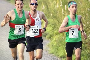 Spa Striders' Ian Allen and Chris Mckeown show contrasting emotions at the Ryton 5.