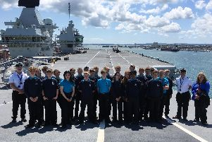 Year 10 pupils from UTC Portsmouth on board HMS Queen Elizabeth, which is based at Portsmouth Naval Base