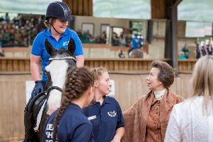 Her Royal Highness, The Princess Royal, officially opened the first National Training'Centre for RDA, speaking with riders and presenting rosettes during her visit. Photo supplied.