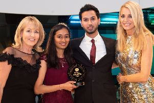 The award was given by BBC presenter Tess Daly (right). Picture by Andrew Perkins