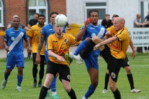 Action from Racing Club Warwick's midweek friendly defeat to Stratford Town. Picture: Stratford Town FC