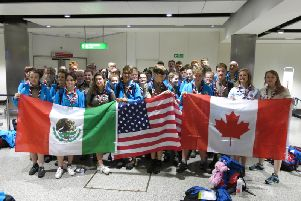 Warwickshire scouts in the airport as they prepare to leave for the World Scout Jamboree in the US