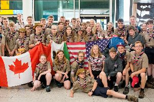 The Warwickshire Scouts group at Heathrow airport.