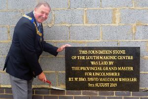 Foundation stone for the new Louth Masonic Centre has been laid by Lincolnshire's top freemason David Wheeler EMN-190908-152312001