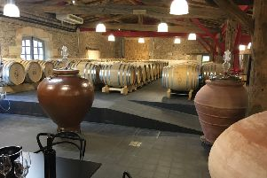 Inside the winery of Chateua Prieure Marquet