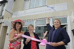 Julie Blyth, right, opens her new independent care agency in Lee-on-the-Solent assisted by the Mayors of Gosport and Fareham Councillors Kathy Jones, left, and Pamela Bryant.'Picture: Ian Hargreaves  (170819-5)
