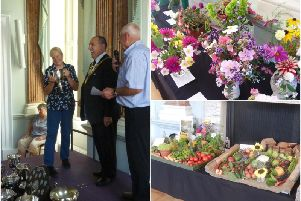 Left shows Debbie Humpherson being presented the Silver Challenge Cup by Warwick Mayor Neale Murphy. Right shows some of the displays. Photos submitted.