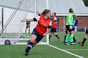 Jess McKay celebrates her goal against Bedford Ladies - pic: Liam Smith
