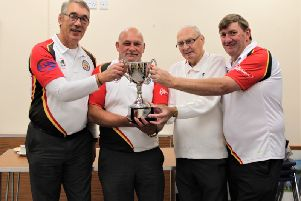 Dick McClune, John Gilliland, Derek Henderson and David Millar who won the Lurgan 400 Anniversary Perpetual Trophy