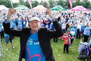 David Bradley, star of the Harry Potter and Game of Thrones franchises, kicked off the memory walk in Leamington. Photo supplied.