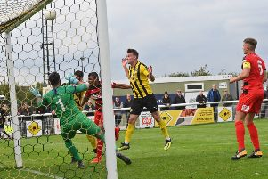 Connor Taylor fails to find the target from close range. Pictures: Lou Smith