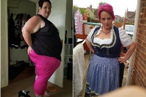 Tilly Pimlott before and after her weight loss.