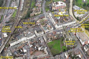 Aerial view showing some of the buildings which could be included in the creative quarter project in Leamington,