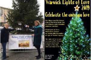 Jackie Crampton from the Warwick Rotary Club with Jayne Topham, clerk at Warwick Town Council by the Rotary Club's tree in Warwick. 'Photo by Warwick Rotary Club.