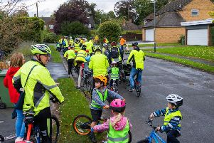 Cycle bus group on their way to St Augustines School in Kenilworth