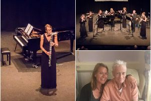 Left shows Jenny Argent performing with the bass flute Steve gifted to her before he died, top right shows musicians performing with Syska Flutes and bottom right shows Jenny with Steve at the Myton Hospices. Photo supplied.