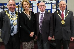 Picture shows left to right: Cllr Neale Murphy, Warwick Mayor, Jayne Topham, Town Clerk, Rotary President David Brain; Cllr George Illingworth, Chair of Warwick District Council. Photo submitted