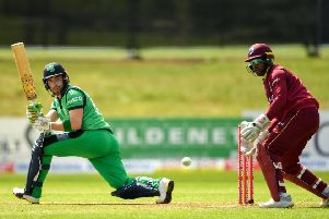 Andrew Balbirnie  plays a shot during the One Day International match between Ireland and West Indies at Malahide last year