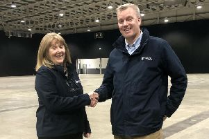 NAEC Stoneleighs security manager, Shirley Dolphin and head of venue operations, Rob Patterson mark the news that the venue has stepped in to save around 60 security jobs.
