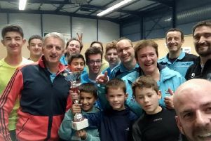 Lucy Yvart (fourth from right, in blue top) with other members of her team.