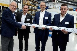 Pictured at the opening of CFS Aero: Cllr Martyn Ashford (Vice-Chairman Warwick District Council), David Newhouse (Managing Director CFS Aero), Jon Freedman'(Chairman CFS Aero), John Rowley (Technical Director CFS Aero). Photo supplied