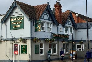 The Bear and Ragged Staff pub in the town centre of Kenilworth