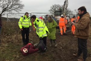 HS2 protesters at Welsh Road near Leamington