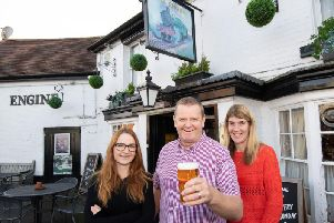 From left: Lana White (the bar manager) and Ted and Lisa Bear, the licencees at the Engine Inn pub