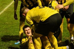 Jack Edwards celebrates what turned out to be the winner in the previous round against Kingstonian.
