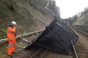 A trampoline was blown onto the West Coast main line last month bringing disruption to passengers. Photo by Network Rail.