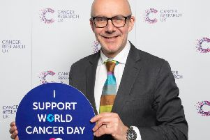 Warwick and Leamington MP Matt Western shows his support for Cancer Research UK on World Cancer Day.