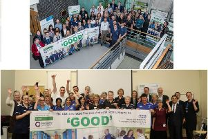 Top shows: staff at UHCW, which manages University Hospital in Coventry and bottom shows: staff at the Hospital of St Cross in Rugby. Photos supplied.