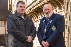 Ashley Garrison-Brown with Brother Bill Bradford at the Lord Leycester Hospital.