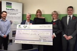 Sharon Gilbert, general manager, Bunzl Healthcare Ireland, Chris Wark, territory manager, Michelle Holmes territory manager, Elaine Brennan, Jonny Martin, from Bunzl Healthcare Ireland, presented a cheque for �1,000 to the Northern Ireland Children's Hospice.