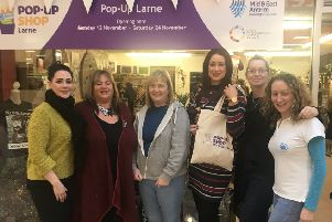 Participants in Larne's pop-up shop at Murrayfield shopping arcade.