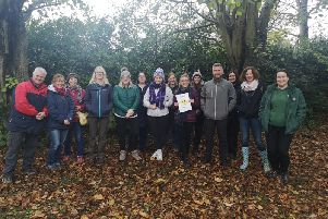Brian Poots (NIFSA) with attendees at the free Forest Schools workshop.