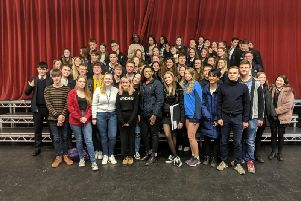 Steyning Grammar School students with Game of Thrones star Maisie Williams