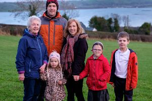 Jonny and Paula Hanson with son Joshua and daughters Bethany and Sophia along with Noreen Christian. Photograph: Columba O'Hare/ Newry.ie
