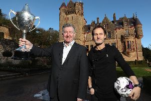 Northern Ireland football legend Norman Whiteside and Alan Clarke CEO STATSports pictured at the announcement of the new SupercupNI headline sponsor, STATSports at Belfast Castle.  Photo by William Cherry/Presseye
