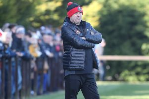 Larne Tech Old Boys boss Johnny Hastings on the sideline