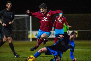 Action from a 2-1 win for Deeping Rangers over Desborough on Tuesday. Photo: James Richardson.