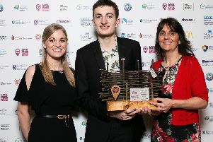 Live Here Love Here Manager Jodie McAneaney with winner Cameron Liddle and Chair of Policy and Resources Committee, Councillor Ruth Wilson.