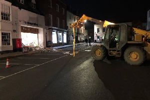 The digger was used to smash through the Co-op in Shipston and was left at the scene. Photo: Warwickshire Police