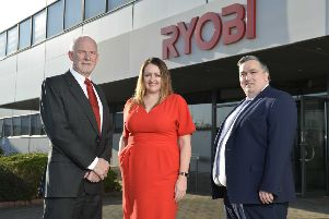 David Watson, managing director of Ryobi; Sandra Scannell, head of Business Support at NI Chamber and Aaron Ennis, head of North Business Centre at Danske Bank.