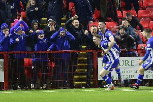 Jamie McGonigle celebrates during Coleraine's thrilling Irish Cup quarter-final victory over Larne. Pic by Pacemaker.
