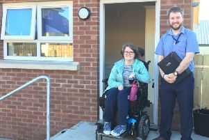 Tenant ClaireTaggart with David Crooks, Housing Executive Patch manager.