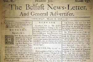 The front page of the Belfast News Letter of March 6 1738 (March 17 1739 in the modern calendar)