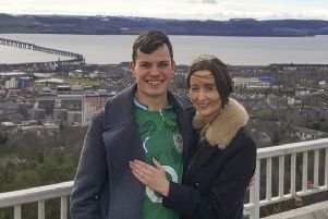 Ryan and Cl�odhna celebrating their engagement in Dundee.